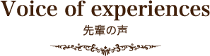 Voice of experiences 先輩の声